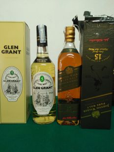 2 bottles - Johnnie Walker Green Label 15 years old & Glen Grant 5 years old distilled 1986.