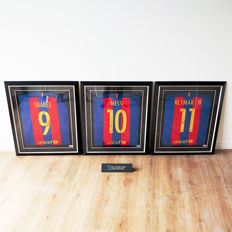 Messi, Suárez and Neymar Jr. signed FC Barcelona 2016/17 shirts - framed and with official certificates of authenticity and photo proof