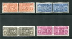 Republic of Italy 1953 – Licensed parcels – Wheel watermark – Series of 4 stamps – Sassone catalogue # 1–4 certified