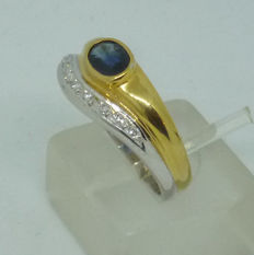 18 kt gold Ladies ring with natural sapphire & diamonds - size 54