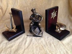 Sailor and Fisherman Figure Bookends