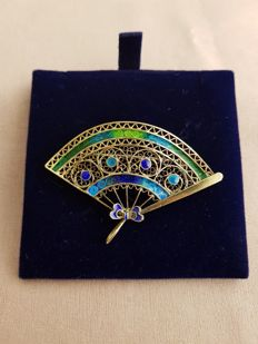 800 Silver Brooch with Enamels1970sNever Worn
