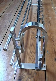 Broad Art Deco modernist chrome coat/hat-rack