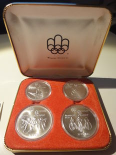 Canada - 5 and 10 dollars 'Montreal Olympics 1976' (4 pieces) in case - silver