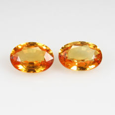 Yellow Sapphire Pair - 1.90 ct - No reserve price