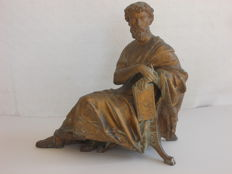 Antique bronzed antimony sculpture of a philosopher -Italy - second half of the 19th century