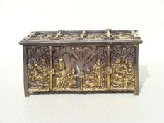 Bronze relic casket with the biblical scene - France - c. 1900