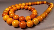 Round beads modified Baltic Amber necklace and bracelet, - Bracelet hole 60 mm, necklace length 53 cm