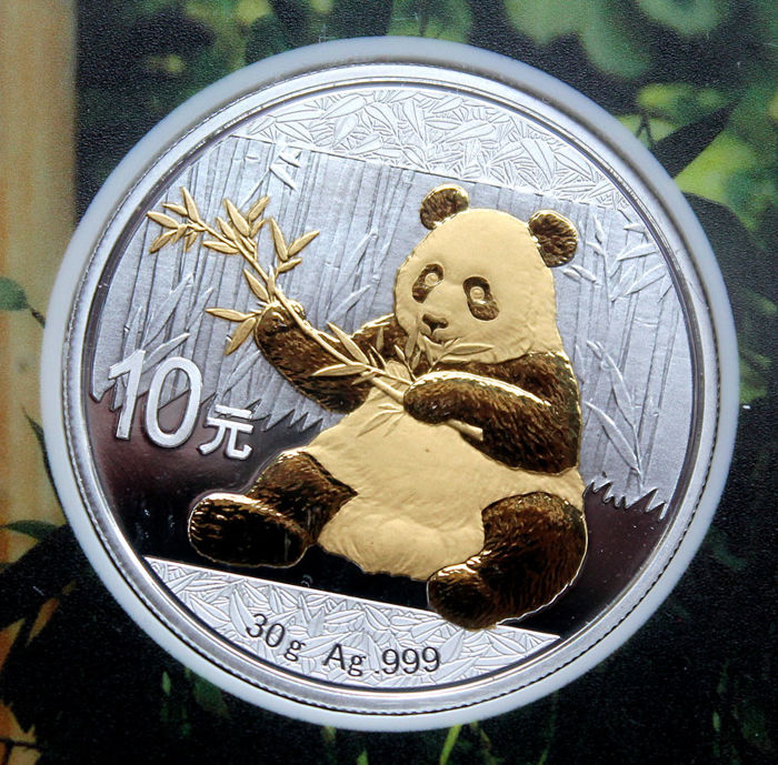 China - 10 yuan 2017 'Panda' gold-plated - 30 g silver