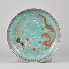 Large dragon &  phoenix famille rose charger - China - circa 1900