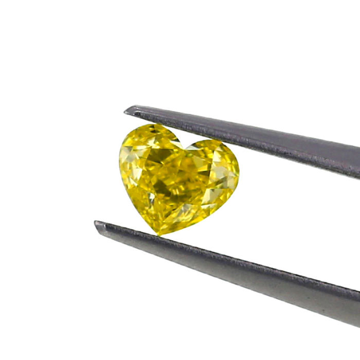 Natural Fancy intense Yellow 0.59 ct. VS1 Heart shape Diamond, GIA