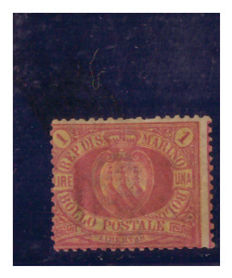San Marino, 1892-1894 - 1 Lira - Carmine on Yellow - Sassone No. 20