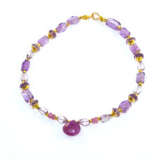 Amethyst and pink Topaz bracelet with pink Sapphires – Length 20.5 cm, 14kt/585 yellow gold clasp