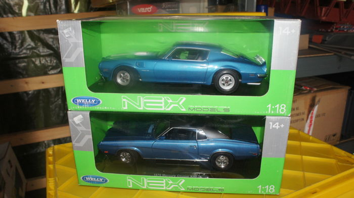 Welly-Nex Models - 1/18 - Pontiac Firebird Trans Am 1972 & Mercury Cougar XR7 1970