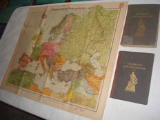 "Third Reich; war navy - lot with 3 parts ""Velhagen & Klasings Karte von Europa"" from 1940, and ""Lehrbuch der Navigation 1 + 2."" Teil "" from 1943 2. world war"