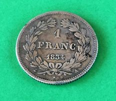 France - 1 Franc 1834 A (Paris) - Louis Philippe I - Silver