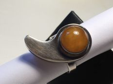 Old Baltic Amber ring silver 925, with natural butterscotch colour Amber, not modified - not pressed, 7,7 grams