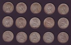 "Republic of Italy - 500 lira ""Caravelle"" and ""Unità"" coins (15 pieces) - silver"