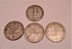United Kingdom - 6 Pence, Shilling and Florins 1836/1936 (6 pieces) - silver