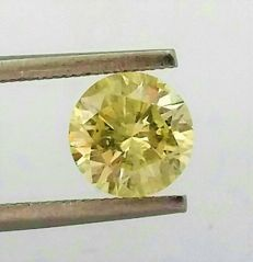 Natural Fancy VIVID Yellow - Brilliant Cut  - 1.59 carat   - SI2  clarity - Natural Diamond - Comes With IGL Certificate + Laser Inscription