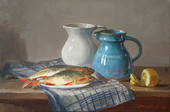 Natalia Dik (1961) - Still life with fishes and vases