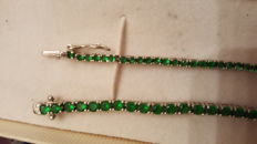 Pair of unisex tennis bracelets with green sapphires - No reserve