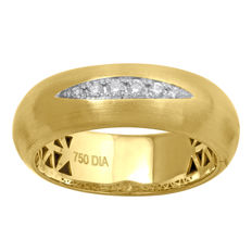"""ROLL-ON DIAMOND RING"" 18Kt. Yellow Gold Diamond Wedding Band , set with diamonds 0.08ct., GH colour and SI clarity , Size 54/N"