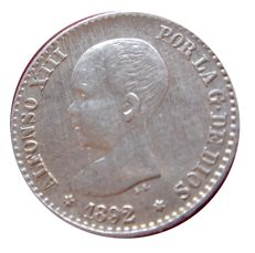 Spain - Alfonso XIII, 50 cents silver coin minted in the year 1892.  Assayer PG-M Excellent piece