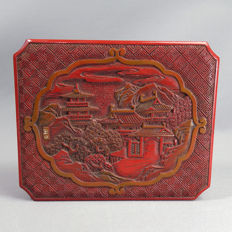 Cinnabar red lacquer box – signed 'Gyokuzan '- End 19th century (Meiji Period)