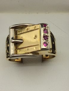 Two-gold 750/1000 ring, synthetic rubies.