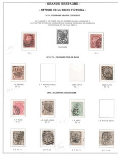 Great Britain Queen Victoria 1870/1880 - a small selection on four album pages.