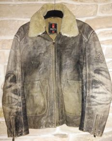 "Pilot-aviator ""SOVIET"" leather jacket in good condition, demmaged look."