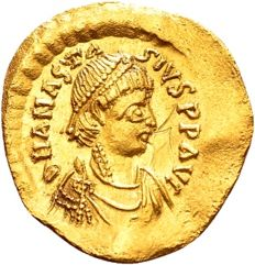Byzantine Empire – Anastasius (491–518 A.D.) Gold Tremissis, minted in Constantinople