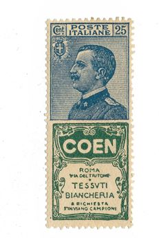 "Kingdom of Italy, 1924 - Advertising, 25-cent ""Coen"" - Sassone No. 5"