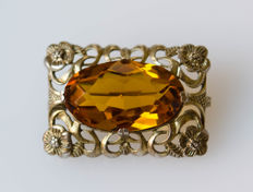 Antique silver brooch with big stone, gold-plated