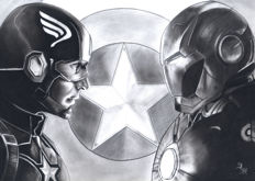 Diego Septiembre - Original Charcoal And Graphite Drawing - Captain America Vs Iron Man