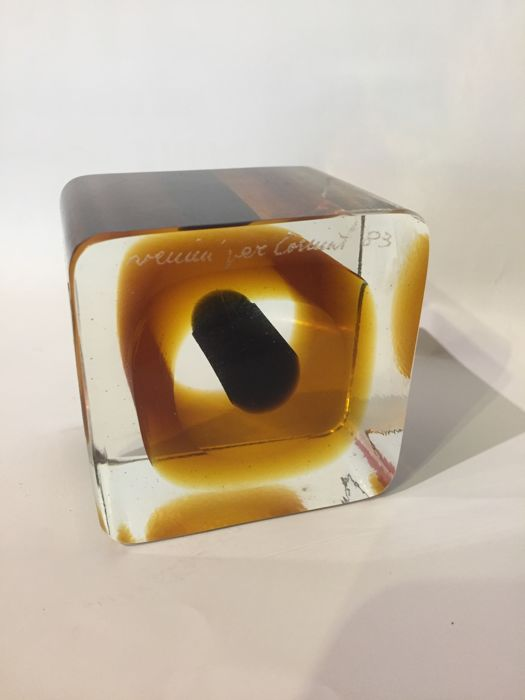 Venini - Sommerso Cube Paperweight signed for COSMIT (Comitato ...