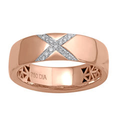 """ROLL-ON DIAMOND RING"" 18Kt. Pink Gold Diamond Wedding Band , set with diamonds 0.08ct., GH colour and SI clarity , Size 54/N"