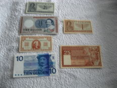 Netherlands - 6 Dutch banknotes from 1945 to 1968