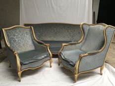 Living room set (3 pieces) with patina Louis XV style, Belgium, c. 1950