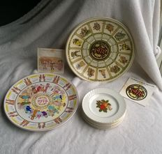 Enoch Wedgwood English Harvest cake plates and Wedgwood Calendar plates 1975 and 1978.