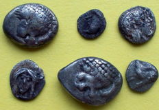 Greek antiquity - 6 silver fractions from Ionie (Teos/Kolophon/Miletos) from 0.20 to 1.18 grams