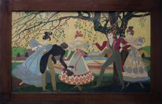 V. Rousselt - The bachelor game - Large Art Deco pyrographic painting