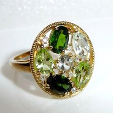 8 kt / 333 gold ring with high quality gemstones aquamarine, peridot, tsavorite + diamonds, like new