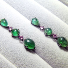 18Kt  earrings with 6.8ct of emerald and 0.32ct of pink sapphire, Size:height 31mm