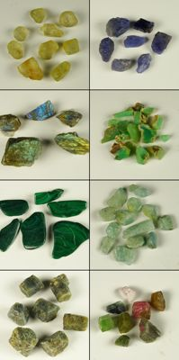 Lot with  Labradorite, Malachite, Sapphire, Tanzanite,  Aquamarine, Topaz, Chrysoprase , Tourmaline - 0,3cm to 3,0cm - 645ct/129gm (60)