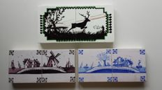 Three tableaux with 2 tiles each - Hunting scene and landscapes
