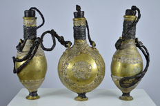 3 x Brass liqueur containers - TUAREG - West Africa