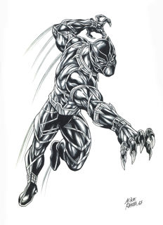 Black Panther By Mike Ratera - Original Drawing