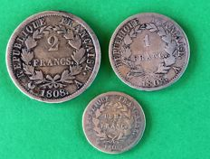 France - ½ Franc 1808-A, 1 Franc 1808-A and 2 Francs 1808-A (lot of 3 coins) - Napoléon I - Silver